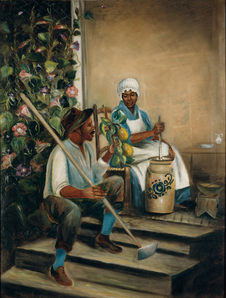 "1890-1910 painting ""Milk Churning"" by Mary Lyde Hicks Williams, Faison, Duplin Co., NC"