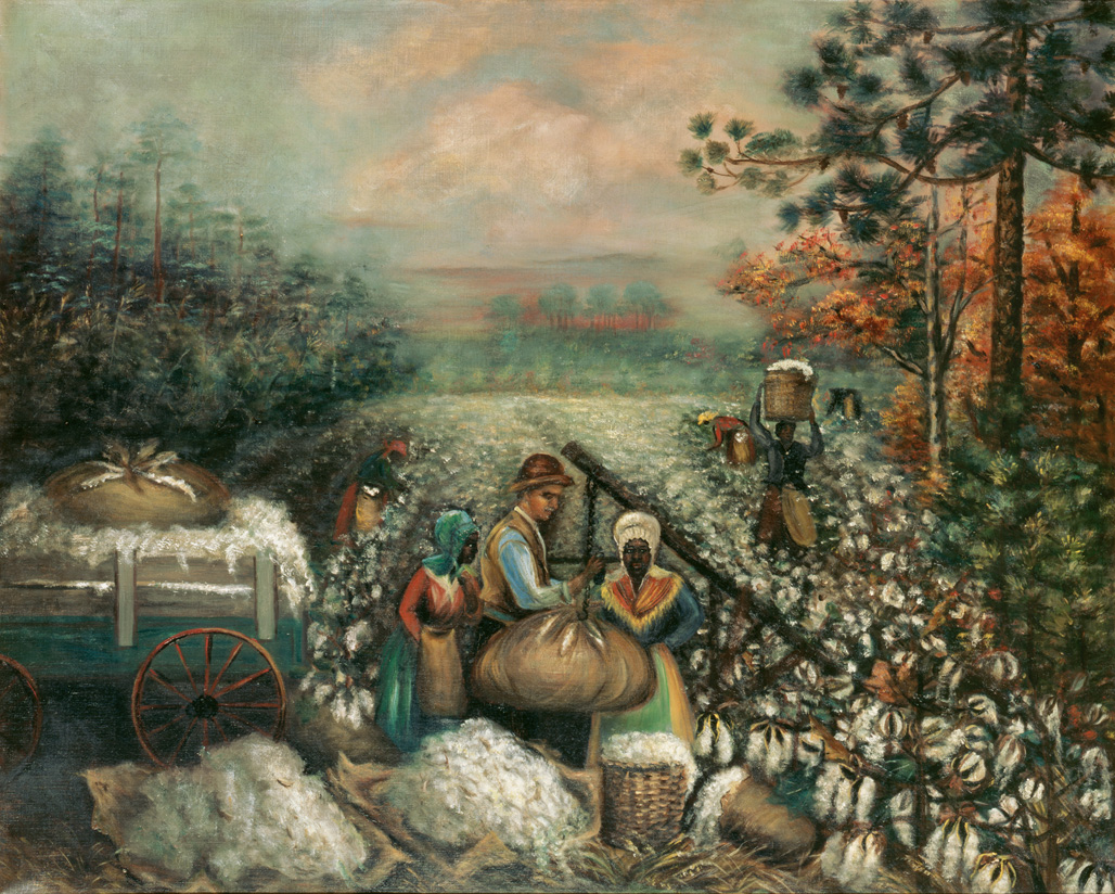 "1890-1910 painting ""Weighing Cotton"" by Mary Lyde Hicks Williams"