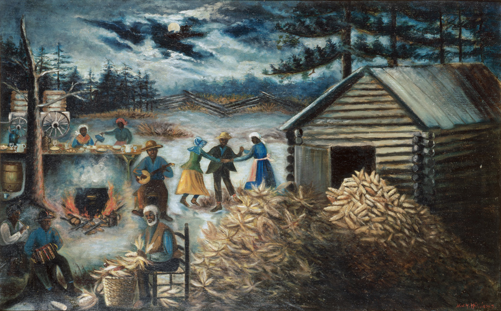 "1890-1910 painting ""Corn Shucking in the Moonlight "" by Mary Lyde Hicks Williams"