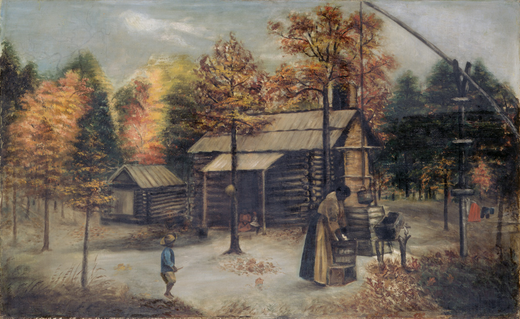 "1890-1910 painting ""Log Cabin Yard Scene"" by Mary Lyde Hicks Williams"