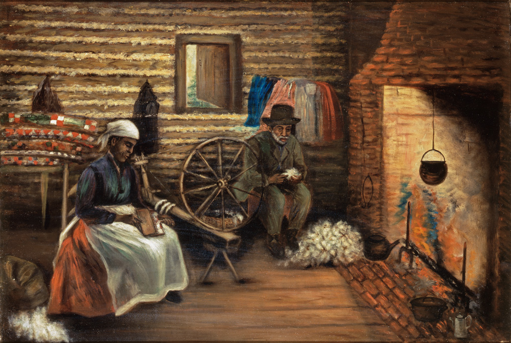 "1890-1910 painting ""Seeding and Carding Cotton"" by Mary Lyde Hicks Williams"