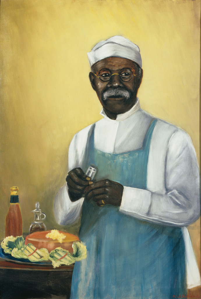 "1890-1910 painting ""Master of Culinary Arts with Aspic Salad"" by Mary Lyde Hicks Williams"